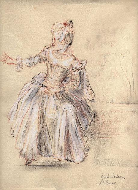 copie Anne-Sophie Bonno - Watteau - Figure assise