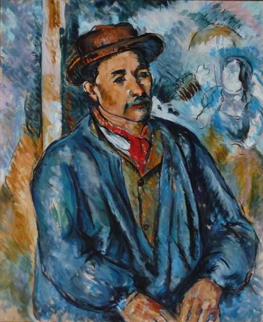 Copy Anne-Sophie Bonno - Cezanne - Man in blue smock - oil painting on canvas, 61x50 cm
