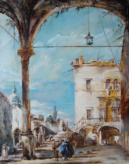 Copy from Francesco Guardi, view of a portico in Venice, oil on wood panel