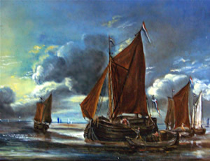 Reiner Nooms, dit Zeeman - Marine, Bark docking a large sailboat, 17th