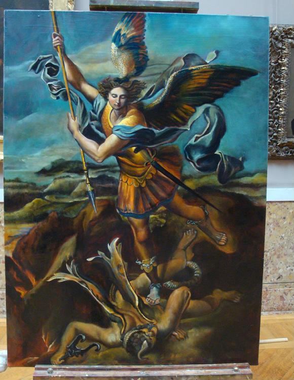 Copy from Raphael - Saint Michel slaying the dragon, oil painting on canvas, 100x73 cm
