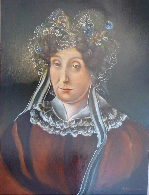 Copy from portrait XIXth - Woman with headdress - oil painting on canvas, 46x61 cm