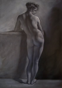 Nude from back - Interpretation in camaieu from a drawing