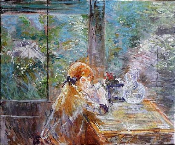 Copy from Berthe Morisot - Little girl with flowers - Oil painting on canvas, 38x46 cm