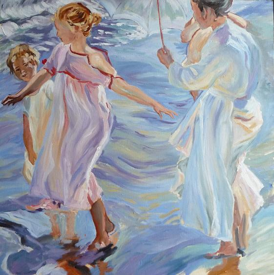 Copy from Sorolla y Bastida Joaquin - The bathing time, Valencia - Oil Painting on canvas, 60x60 cm